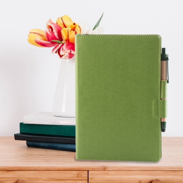 Notes Colored, piele, A5, liniat ivory, vernil