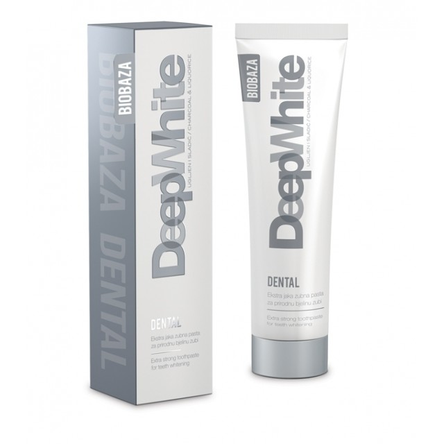 Pasta de dinti pentru albire intensa cu carbon activ DEEP WHITE, 100 ml - BIOBAZA