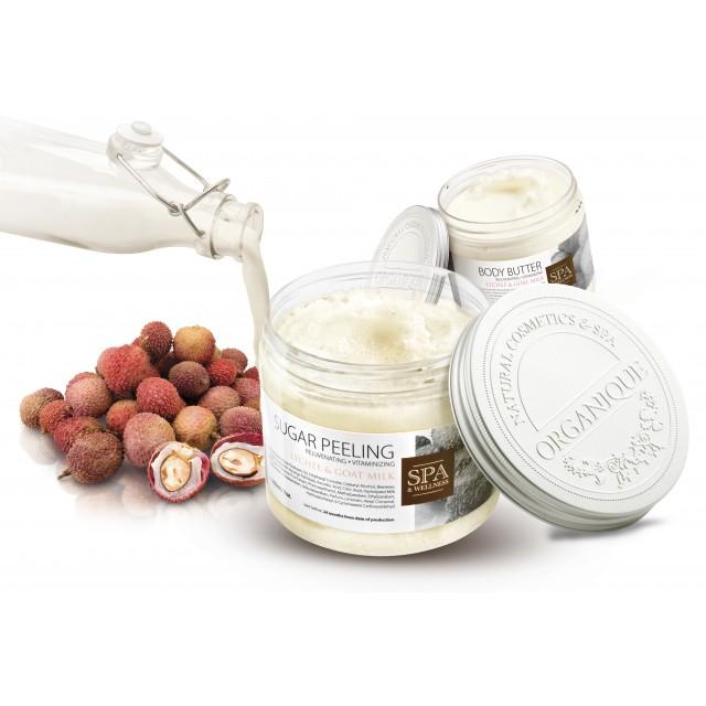 Unt corporal profesional calmant cu shea, lapte de capra, litchi si perle Organique 450 ml