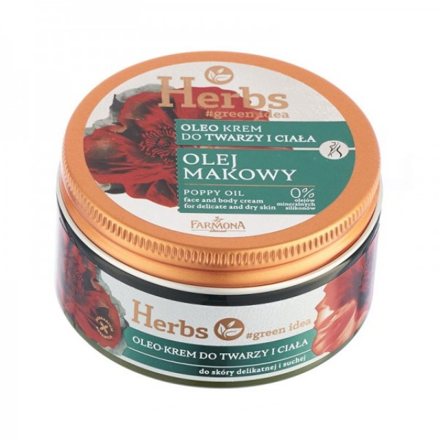 Oleo cremă pentru față și corp cu ulei de mac Herbs 100 ml