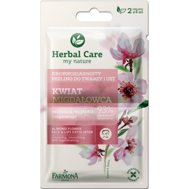Peeling pentru față și buze cu flori de migdale Herbal Care 2 x 5 ml