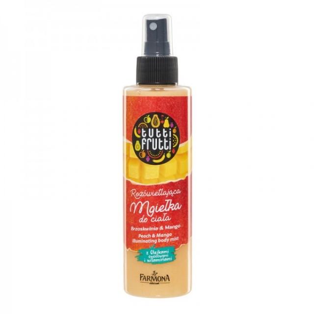 Spray iluminator pentru corp cu piersici si mango Tutti Frutti 200 ml