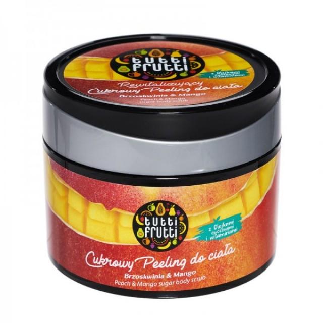 Sugar scrub revitalizant pentru corp cu piersici si mango Tutti Frutti 300 g