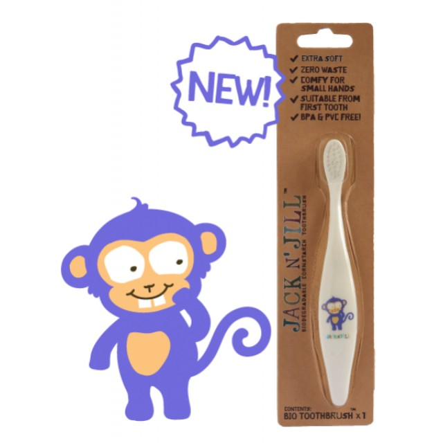 Periuta de dinti ECO pentru bebe si copii, Monkey - Jack n' Jill