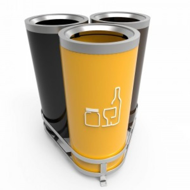 AARHUS B Cosuri de gunoi moderne de reciclare 3x50L, pentru birouri sau zonele urbane