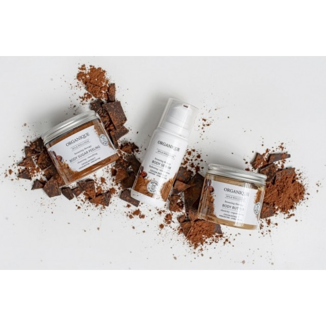 Exfoliant corporal bronzant, anticelulitic si tonifiant cu ciocolata Organique 450 ml