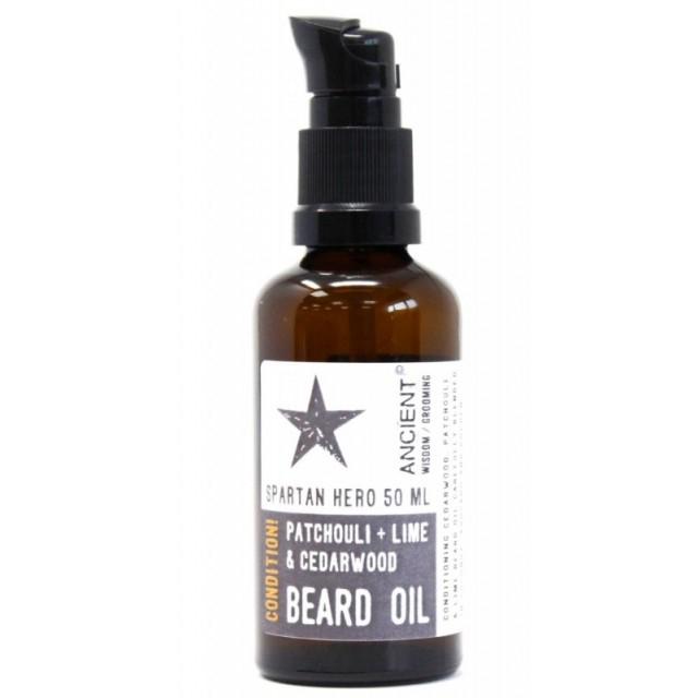 Ulei de barba natural cu patchouli si lime Spartan Hero, 50ml - Ancient Wisdom