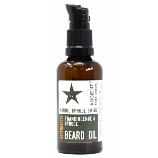 Ulei de barba natural cu tamaie Nordic Spruce, 50ml - Ancient Wisdom